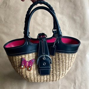 Coach Black Leather Straw Butterfly Bucket Bag